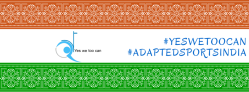 A Facebook banner made with Indian flag colors (saffron, white, green). Embedded into this banner is the logo of a trust with letter Yes We Too Can and hashtages Yes We Too Can and Adapted Sports India written on it