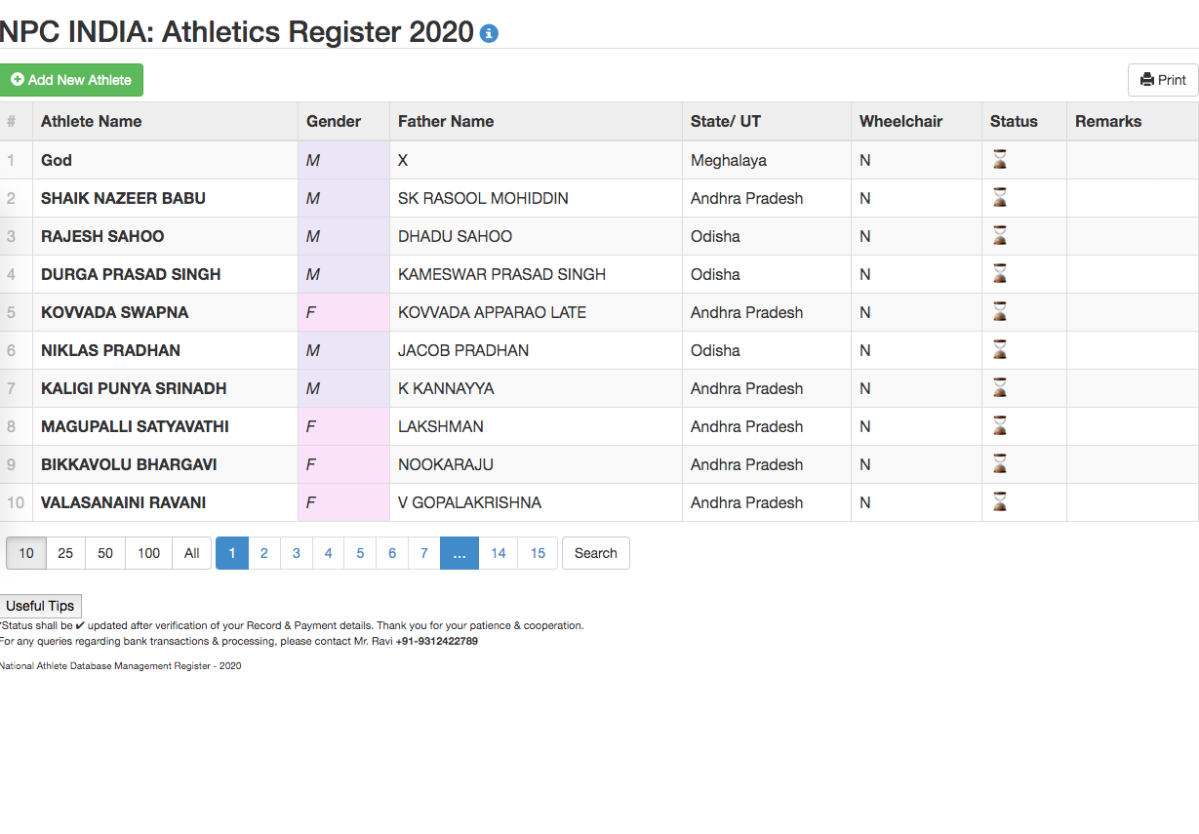Screenshot of Paralympic athlete database from India